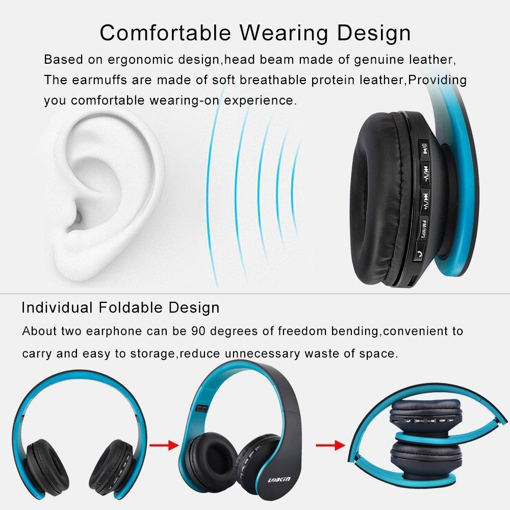 Cuffie Bluetooth LOBKIN Auricolari Stereo con Microfono Bluetooth 4.1 Pieghevole Over-Ear Senza Fili Cuffie con Microfono Ricaricabile Riduzione del Rumore Interno Supporto SD/TF Card (azul-negro)