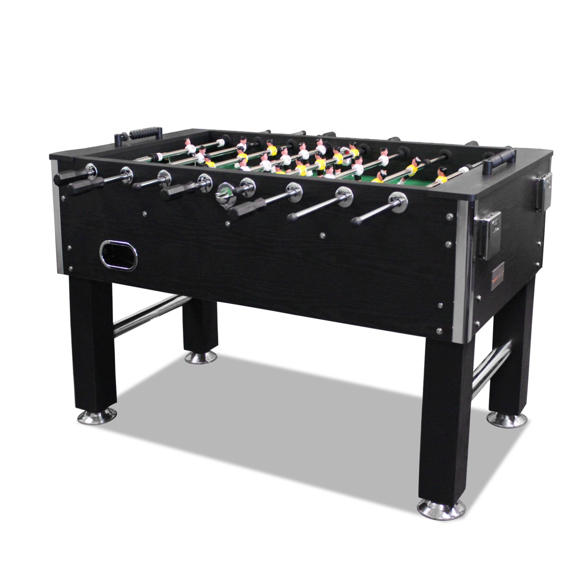 T&R sports 60'' Soccer Foosball Table Heavy Duty for Pub Game Room with Drink Holders, Black