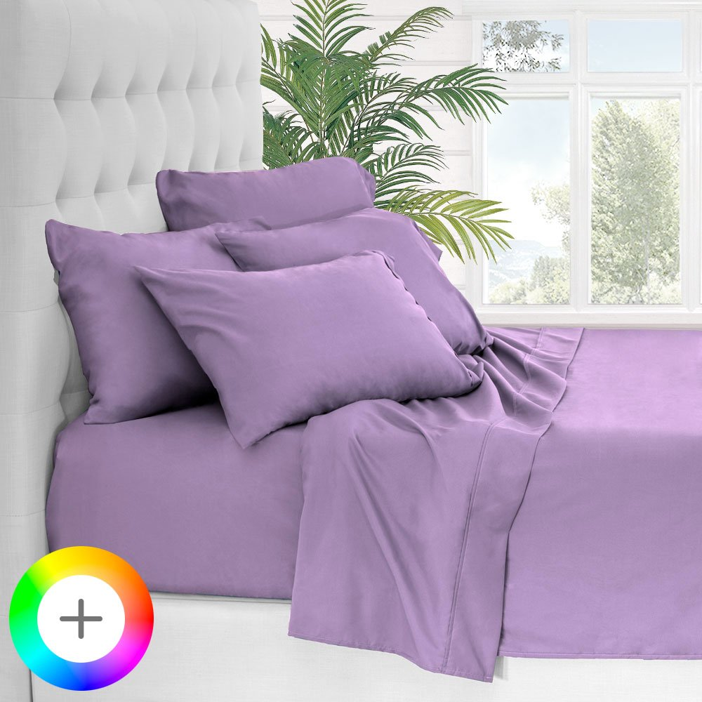 Bare Home 5 Piece 1800 Collection Deep Pocket Bed Sheet Set - Ultra-Soft Hypoallergenic - 2 EXTRA PILLOW CASES (Twin, Lavender)