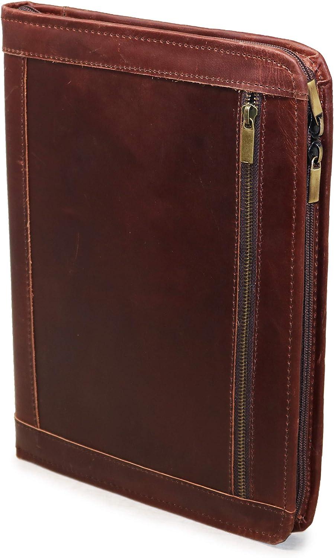 JAALD Folder Portafolio Porta Documentos en Cuero con Cremallera Zipper Profesional A4 Compatible con Ipad Pro 33 cm