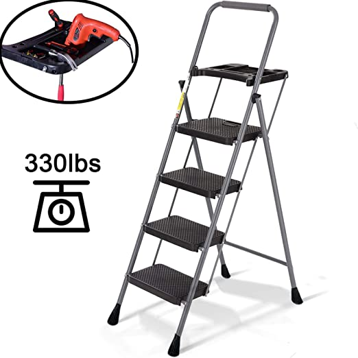 Amazon Com Nsdirect 4 Step Ladder Step Stool With Wide Step Folding Portable Lightweight For Adults Indoor Outdoor With Tool Platform Tray Equipment With Anti Slip Pedal 330lbs Capacity Home Kitchen
