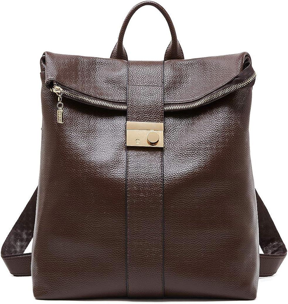 BOYATU Genuine Leather Backpack Purse for Women Anti-theft Travel Shoulder Bag