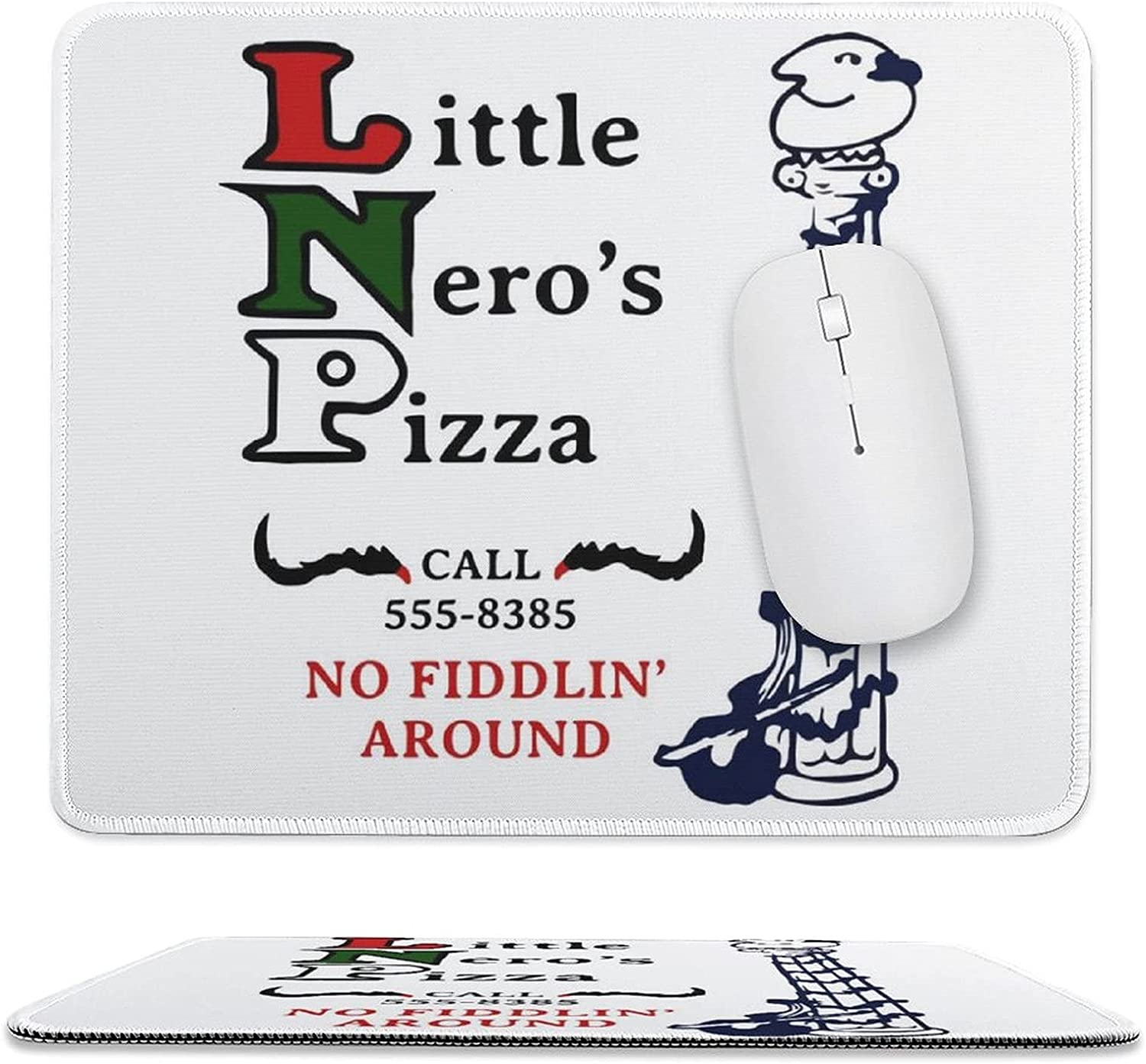 Little Neros Pizza Home Alone Customizable Mouse pad, Edge Stitching Design, Rubber Non-Slip Bottom, Dirt-Resistant and Durable, Large Size (11.8 x9.8 inches)