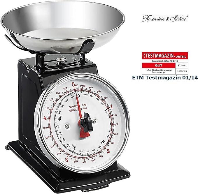 Rosenstein & Söhne - Pesa analógica de cocina (función de tara), diseño retro: Amazon.es: Hogar
