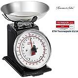 Rosenstein & Söhne Retro Waage: Analoge Metall Retro-Küchenwaage bis 5 kg mit Tara-Funktion (Haushaltswaage)
