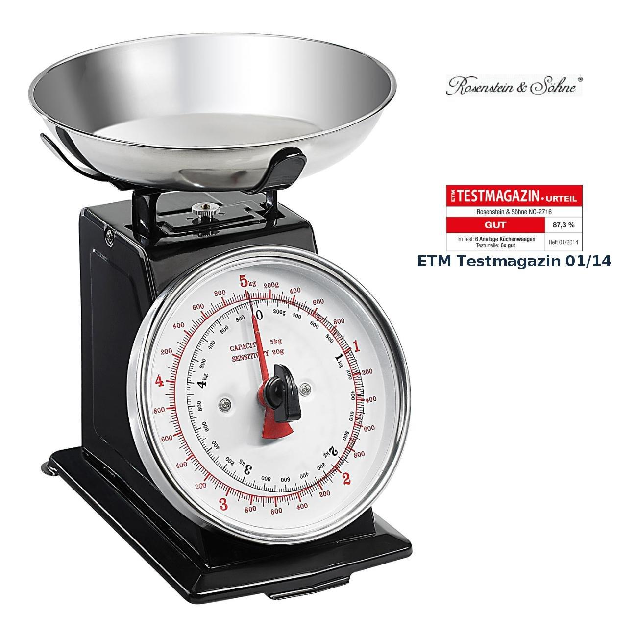 Rosenstein & Söhne Feinwaage: Analoge Metall Retro-Küchenwaage bis 5 ...