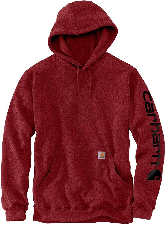Carhartt Men's Big & Tall Midweight Sleeve Logo Hooded Sweatshirt: Clothing
