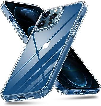 Aunote Coque transparente pour iPhone 12, coque hybride en verre trempé pour iPhone 12 Pro, coque en verre transparente, anti-rayures, fine et ...