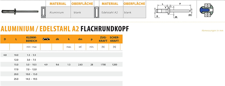3.0 X 8.0 mm 500 St/ück Alu//Edelstahl A2 Multigrip Blindnieten Flachkopf Dichtnieten Nieten