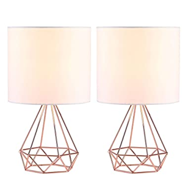 CO-Z Modern Table Lamps for Living Room Bedroom Set of 2, Rose Gold Desk Lamp with Hollowed Out Base and White Fabric Shade, 16 Inches Bedside Lamps for Nightstand Accent. (Pink)