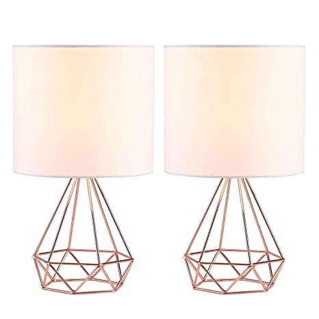 CO-Z Modern Table Lamps for Living Room Bedroom Set of 2, Rose Gold Desk  Lamp with Hollowed Out Base and White Fabric Shade, 16 Inches Bedside Lamps  ...