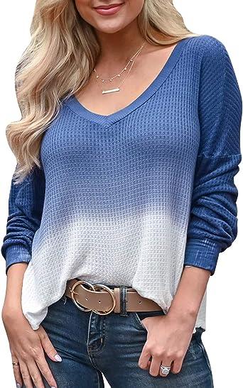 YOINS Mujer Suéter Manga Larga Pullover Gradiente Jersey con Cuello En V Suéter Camiseta Deportiva Casual Top Primavera Y Verano