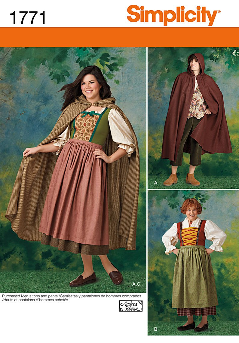 Simplicity Pattern 1771.A 8 18/ XS XL Misses and Mens Costume
