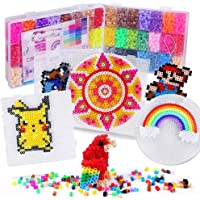 H&W 24 Colors 5mm Fuse Bead Set Compatible Kids, Add Color Number & Supply Refill Bag, 2 Tweezers, 2 Big Peg Boards, 5 Ironing Paper, Parts(WA1-Z1)