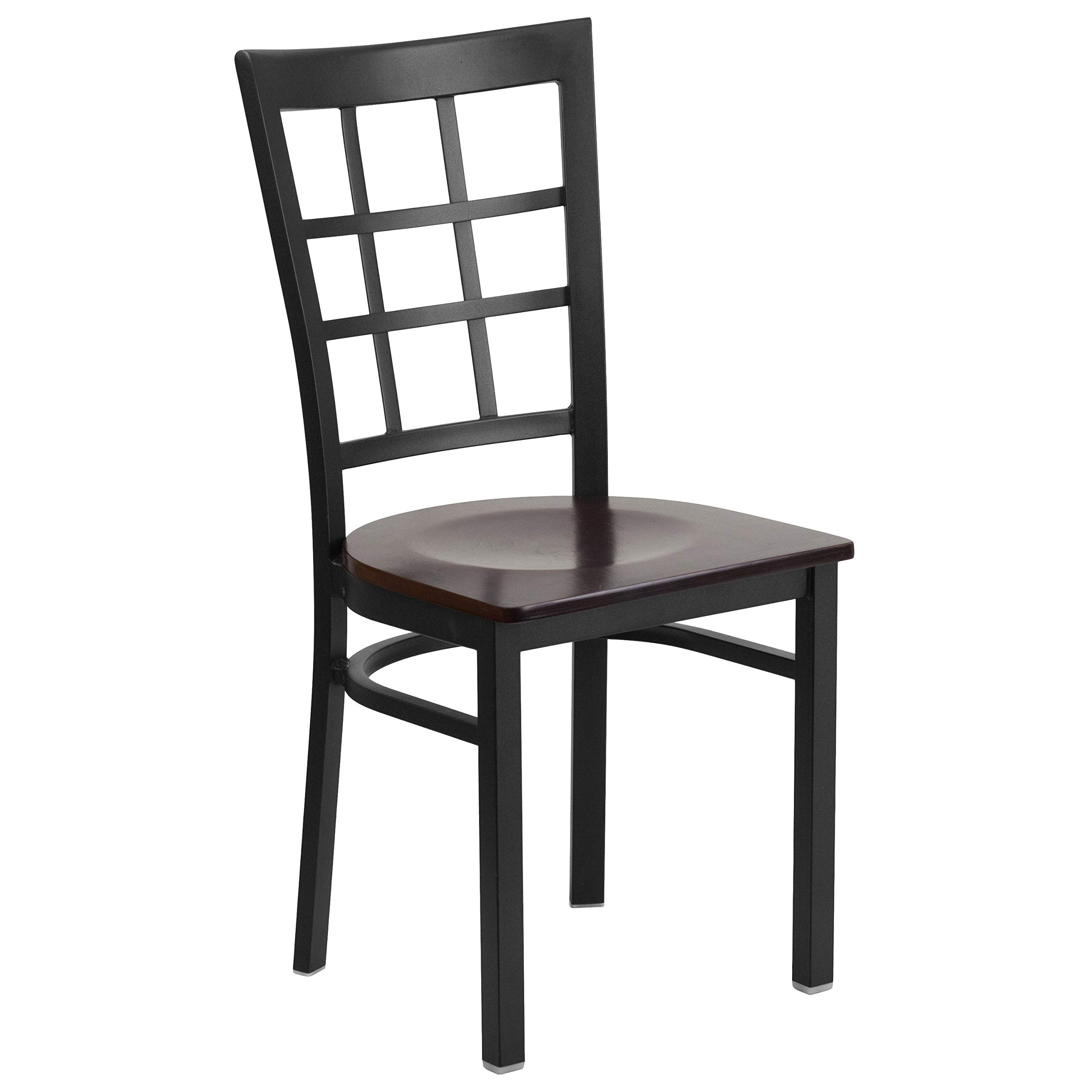 MFO Princeton Collection Black Window Back Metal Restaurant Chair - Walnut Wood Seat
