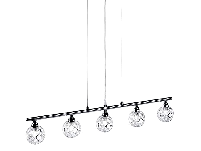 Paul Neuhaus 50192-17 Jofe - Lámpara de techo con 5 luces (cromo, incluye 5 bombillas halógenas G9 140 W, 230 V, 86,6 x 19,2 x 10,6 cm), color ...