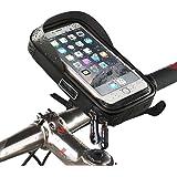 Telefono Bicicletta Bici Borsa Ciclismo a Manubrio Custodia Impermeabile Bicicletta Custodia Smartphone Porta Cellulare Moto Waterproof Phone Case Bag per GPS iPhone X 8/7 Plus Samsung S8(Nero,size¡Ü6)