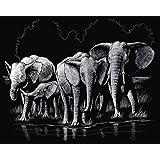 Cartes à gratter 20 x 25 cm « Eléphant », incl. 1 couteau à gratter