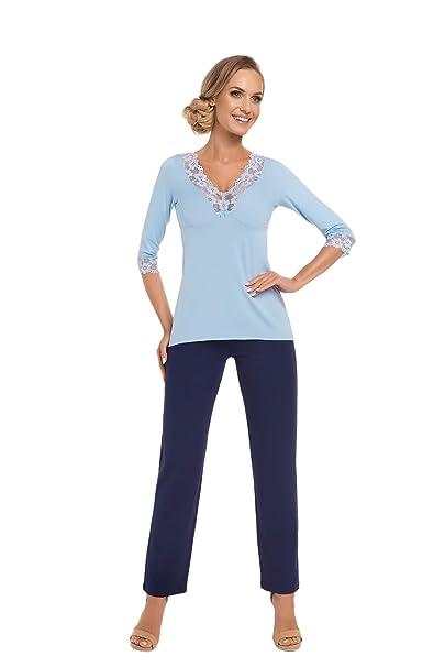 Donna - Pijama - Lunares - Manga Larga - para Mujer Azul Claro/Azul Oscuro
