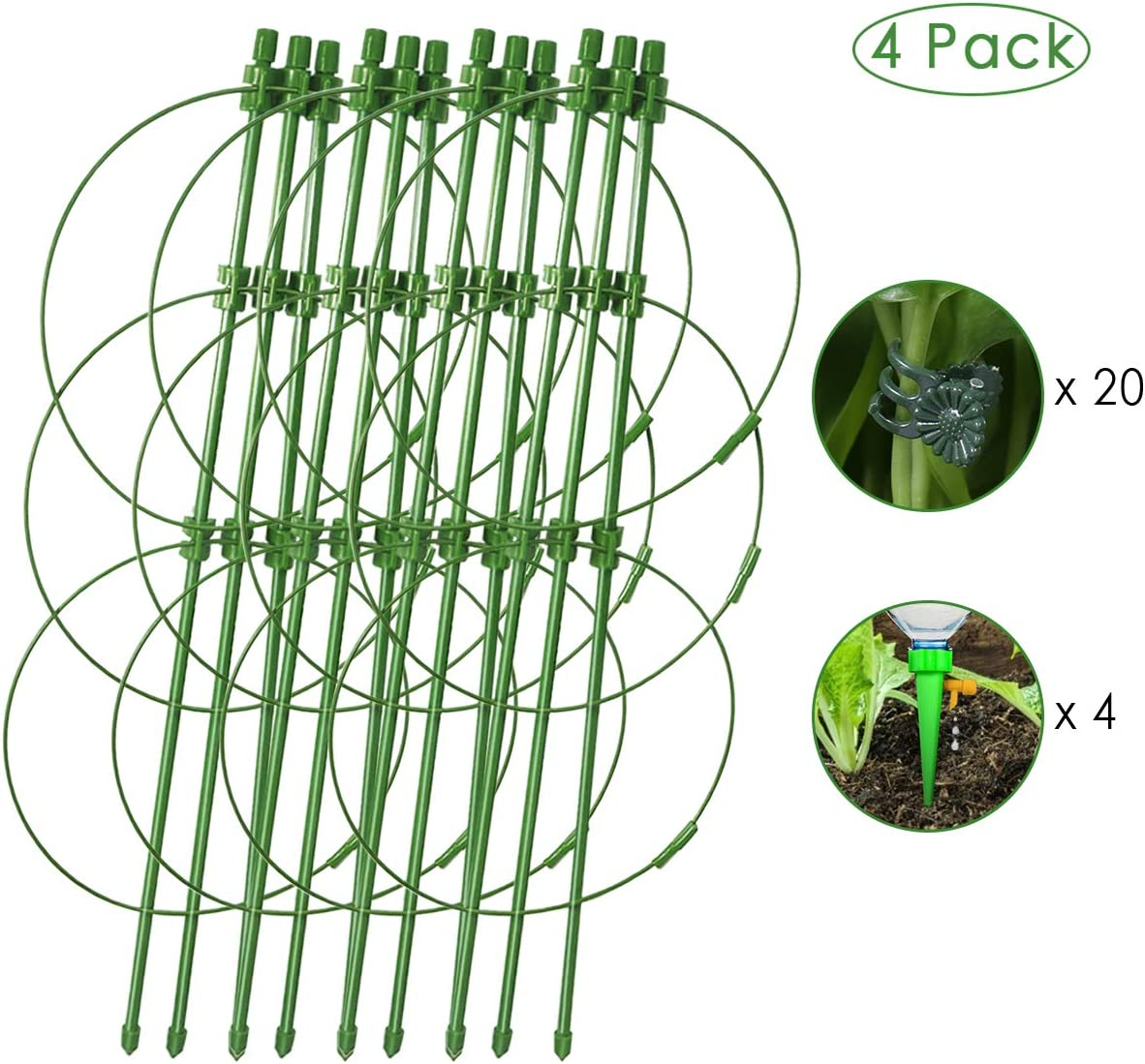 """Plant Support Stake (18""""), 4 Pack Green Round Plant Support Ring, Garden Plant Stake with Plant Trellis Kits for Tomato, Rose, Vine , Plant Support Cages with 4 Self Watering Spikes and 20 Plant Clips"""