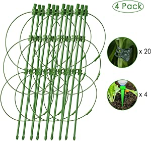 "Plant Support Stake (18""), 4 Pack Green Round Plant Support Ring, Garden Plant Stake with Plant Trellis Kits for Tomato, Rose, Vine , Plant Support Cages with 4 Self Watering Spikes and 20 Plant Clips"
