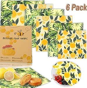 Set de 6 paquetes Envoltorio Cera De Abeja reutilizable, Envolturas ecológicas de almacenamiento de alimentos sostenibles naturales para sándwiches, frutas, pan, bocadillos (Limón): Amazon.es: Hogar