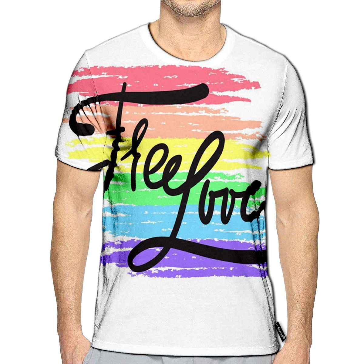 3D Printed T-Shirts Free Love Simple Inspiration Short Sleeve Tops Tees
