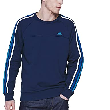 Adidas Sweatshirt Stripe Amazon 3 uk co Clothing Mens Crew Essentials AAqfPwH
