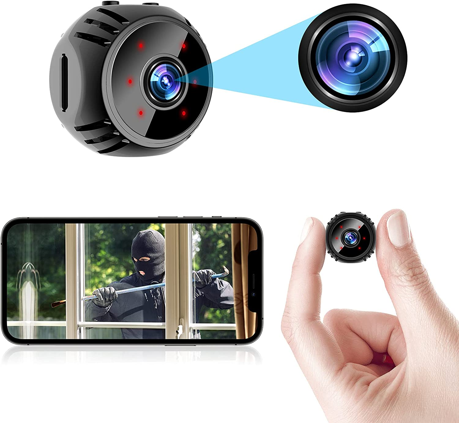 ORHIDAM Mini Spy Camera Wireless Hidden Nanny Cam WiFi Baby Monitor 1080P HD Home Security Indoor Video Recorder with Live Feed Phone APP Night Vision Motion Detection
