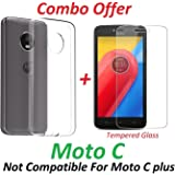 YuniKase Soft Silicone Flexible Crystal Clear Back Case Cover with Tempered Glass Screen Protector for Motorola Moto C