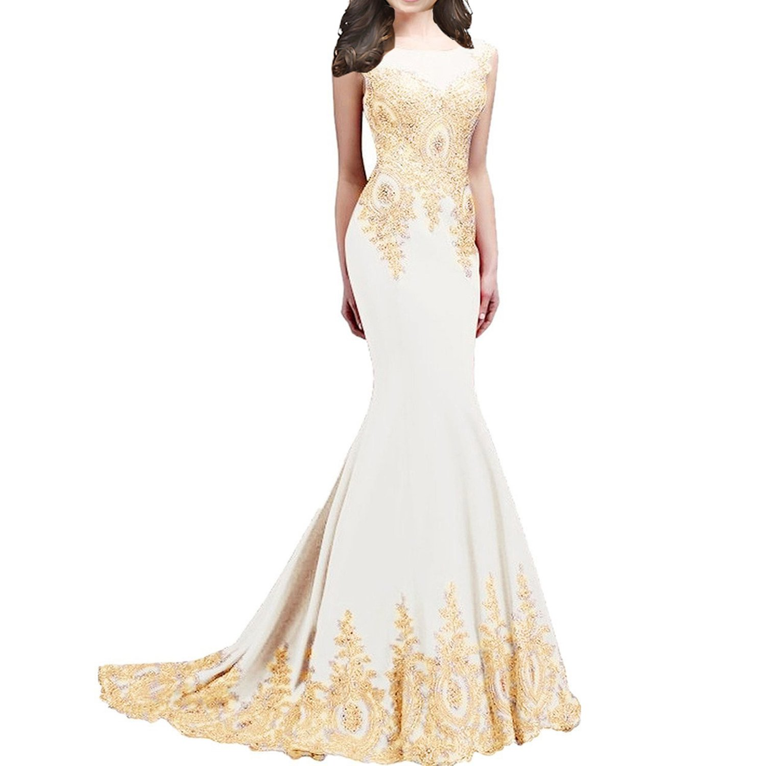 Sleeveless Mermaid Long Gold Lace Crystals Beaded Formal Prom Evening Dresses White US 14