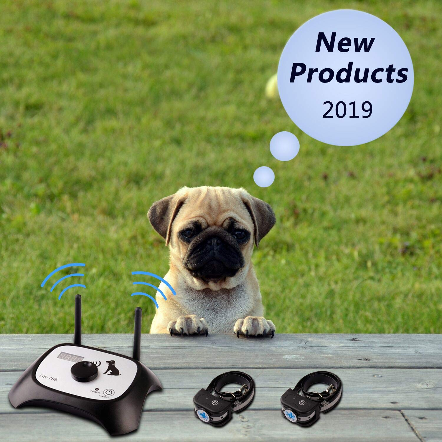 Wireless Dog Fence Electric Pet Containment System, Safe Effective Beep/Shock Dog Collar, Adjustable Control Range 1000 Feet & Display Distance, Rechargeable Waterproof Collar Receiver (2 Dog System)