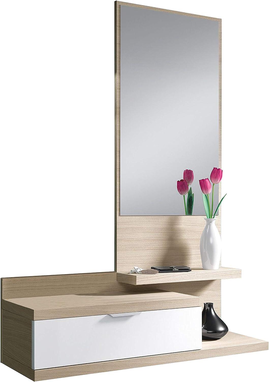 Habitdesign 016744W - Recibidor Dahila con un cajón y Espejo, Mueble Entrada Acabado en Blanco Brillo y Nature, Medidas: 116 cm (Alto) x 81 cm (Largo) x 29 cm (Fondo)