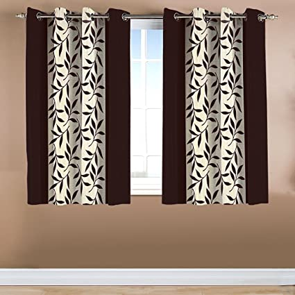 Home Candy Leave 2 Piece Polyester Window Curtain Set - 60x48, Brown