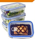 [Premium 4 Sets] Glass Meal Prep Food Storage Container with Snap Locking Lid, Glass Meal Prep Containers BPA-Free, Airtight, Microwave, Oven, Freezer, Dishwasher Safe (3.5 Cup, 28 Oz, Rectangle)