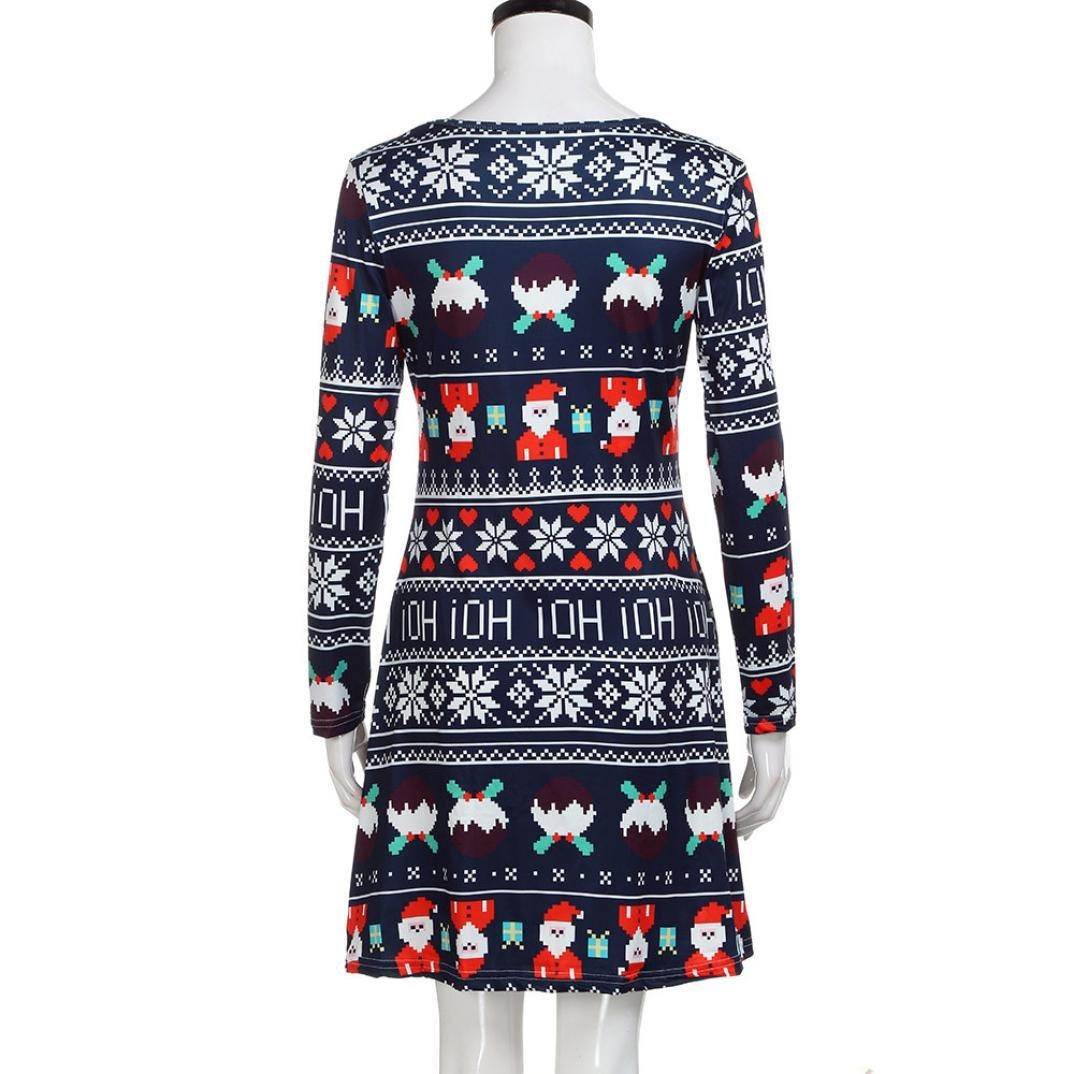 20ece6c382a338 Damen Weihnachten Kleid FORH Frauen Christmas santa muster Drucken Schaukel  Kleid Erfreulich Rundhals Abendkleider Elegant Langarm Printkleider Retro  ...