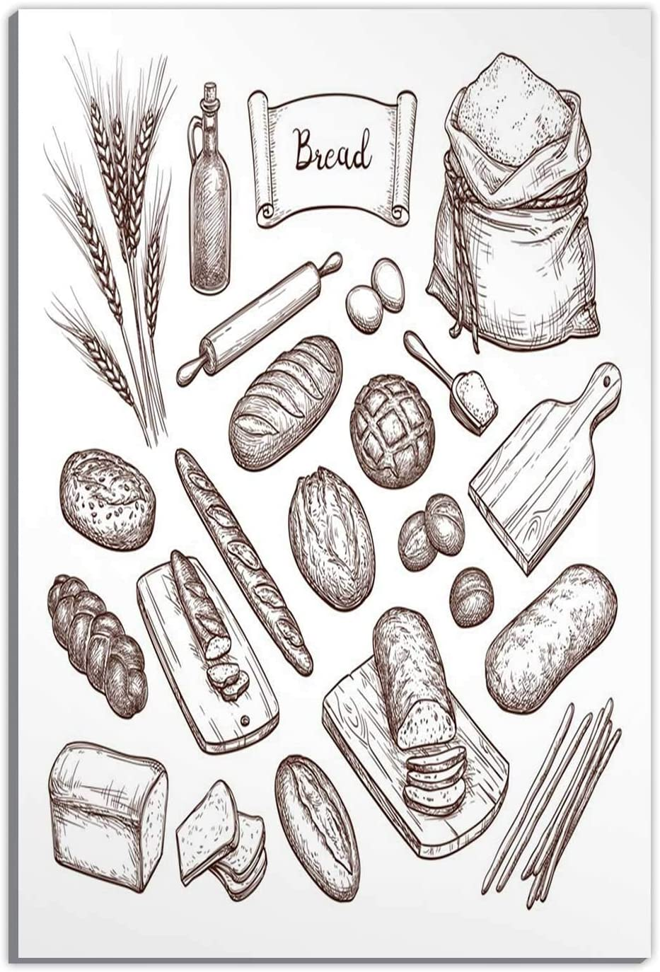Hitecera Bread and Ingredients Home Decorations for Living Room,129572 Wall Art Decor,16''Wx19''H