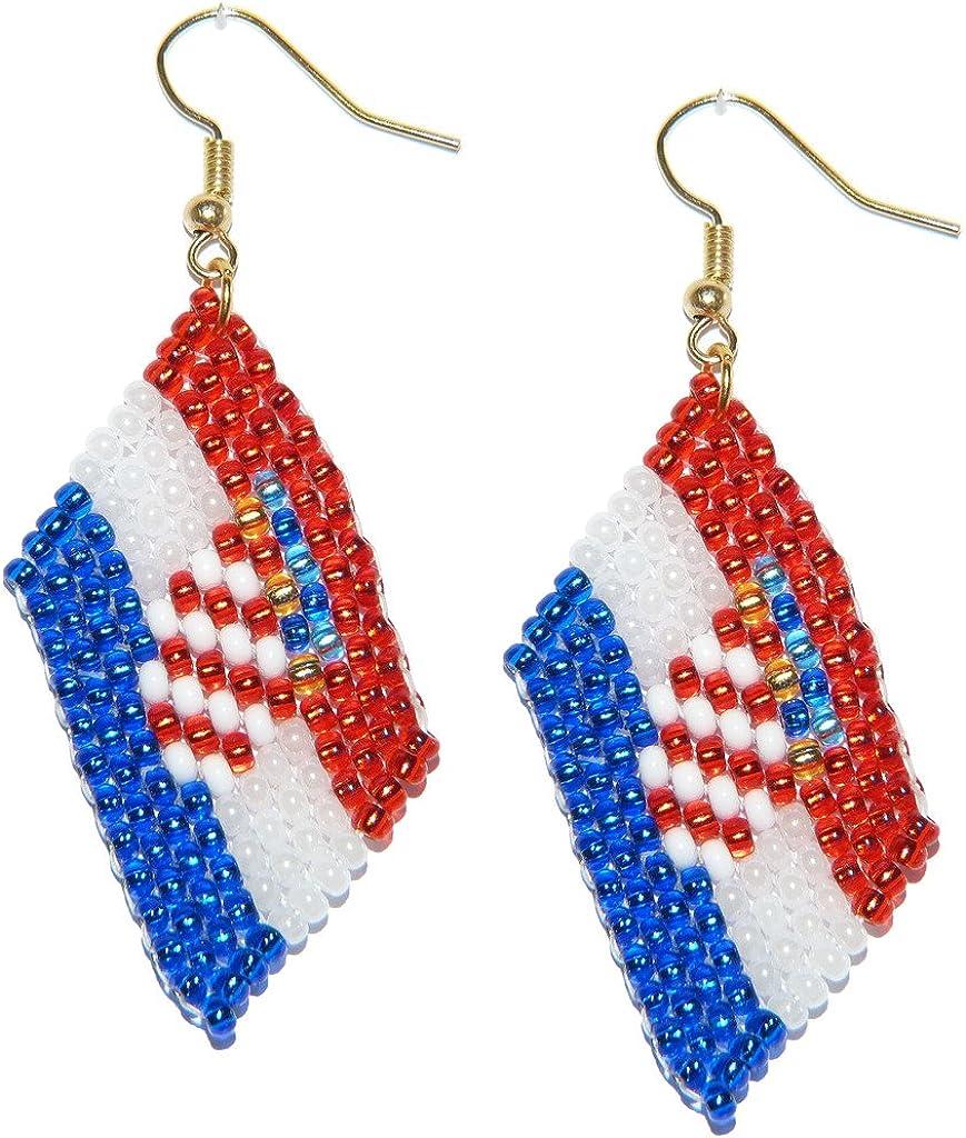 Pendientes, Croacia, Hrvatska, de banderas de abalorios. Joyería de trabajos de abalorios hechos a mano. (A): Amazon.es: Joyería