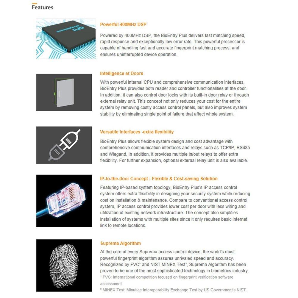Suprema BEPL-OC BioEntry Plus IP based Fingerprint Access Control Time Clock EM125KHz