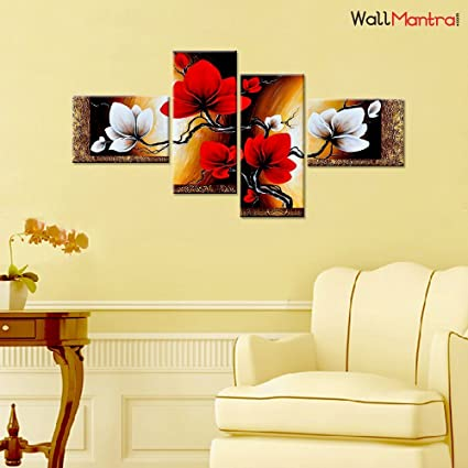 Wallmantra abstract flower art wall painting 4 pieces canvas print wall hanging stretched and