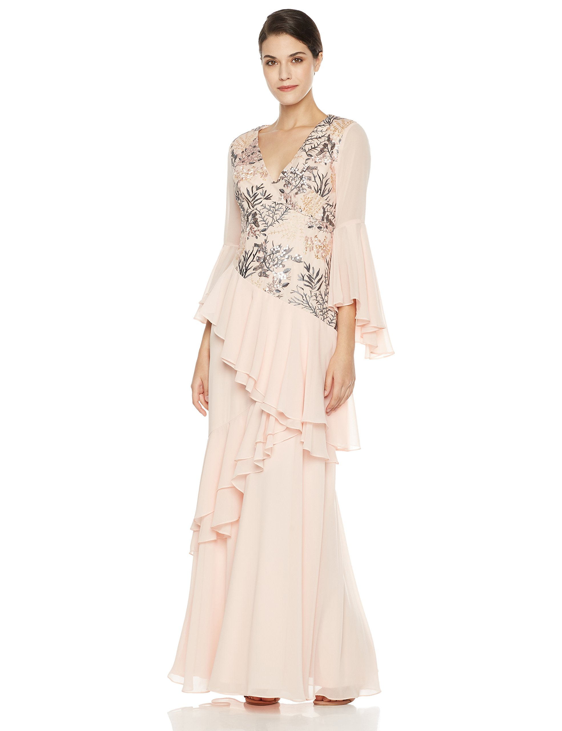 Social Graces Women's V-Neck Long Bell Sleeve Floral Embroidery Ruffle Drape Evening Gown 4 Ballet Pink by Social Graces