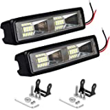 AllExtreme EX16FL2 16 LED Bar 6 inch Off Road Driving Lights Spot Beam Dual Row Fog Light for Motorcycle Cars and Other Vehicles (32W, White Light, 2 PCS)