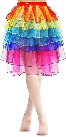2 Paquetes Faldas de Baile de Tul en Capas de Tutú de Arcoiris ...