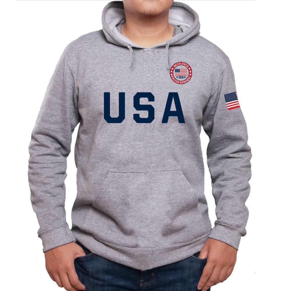 USA 2018 Athletics Department American Flag Sporty Men's Hoodie Fleece Pullover