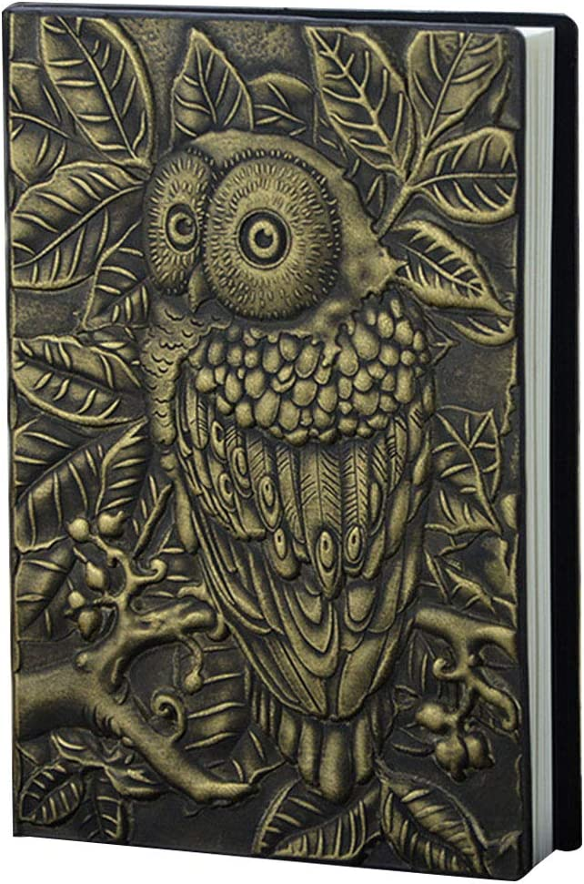 Yuxiale 3D Vintage Handcraft Embossed Owl Antique Diary Notebook Embossed Leather Travel Journals Copper PU Leather