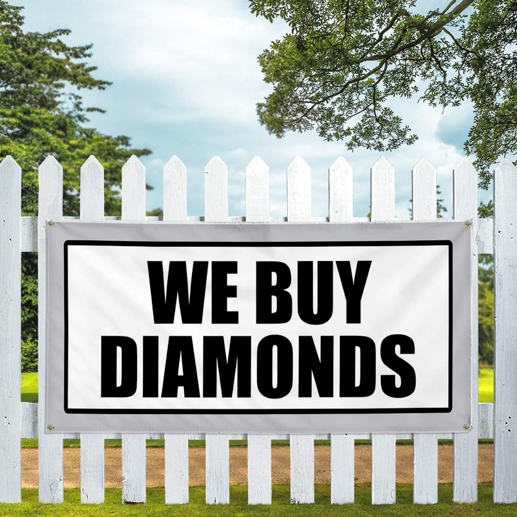 One Banner Vinyl Banner Sign We Buy Diamonds White and balcks Outdoor Marketing Advertising White 48inx96in 8 Grommets Multiple Sizes Available