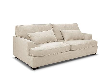 Sofá de 4 plazas Ferrandine, blanco crudo, tacto ...