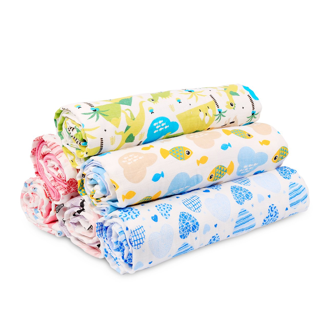 Soft & Cozy Two Layers Muslin Cotton Baby Swaddle Blanket, Burpy Clothes For Deep Sleep, 40 x 60 inches Stroller Blanket for Unisex Newborn (Fish)