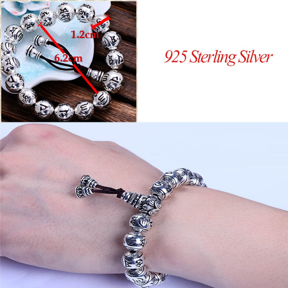 MetJakt Buddhism Mantra Bracelet Solid S999 Sterling Silver Buddha Beads Bracelet for Unisex Vintage Jewelry Stretching 7.5-9inches by MetJakt (Image #2)