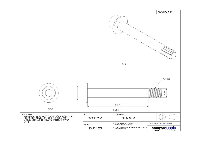 1//4-20 Thread Size Plain Finish Hex Socket Drive Made in US Flange Socket Cap Head Aluminum Prairie Bolt 2-5//8 Grip Length Pack of 1 1//4-20 Thread Size 0.250 Shoulder Diameter 2-5//8 Grip Length Accurate Manufacturing 0.250 Shoulder Diameter